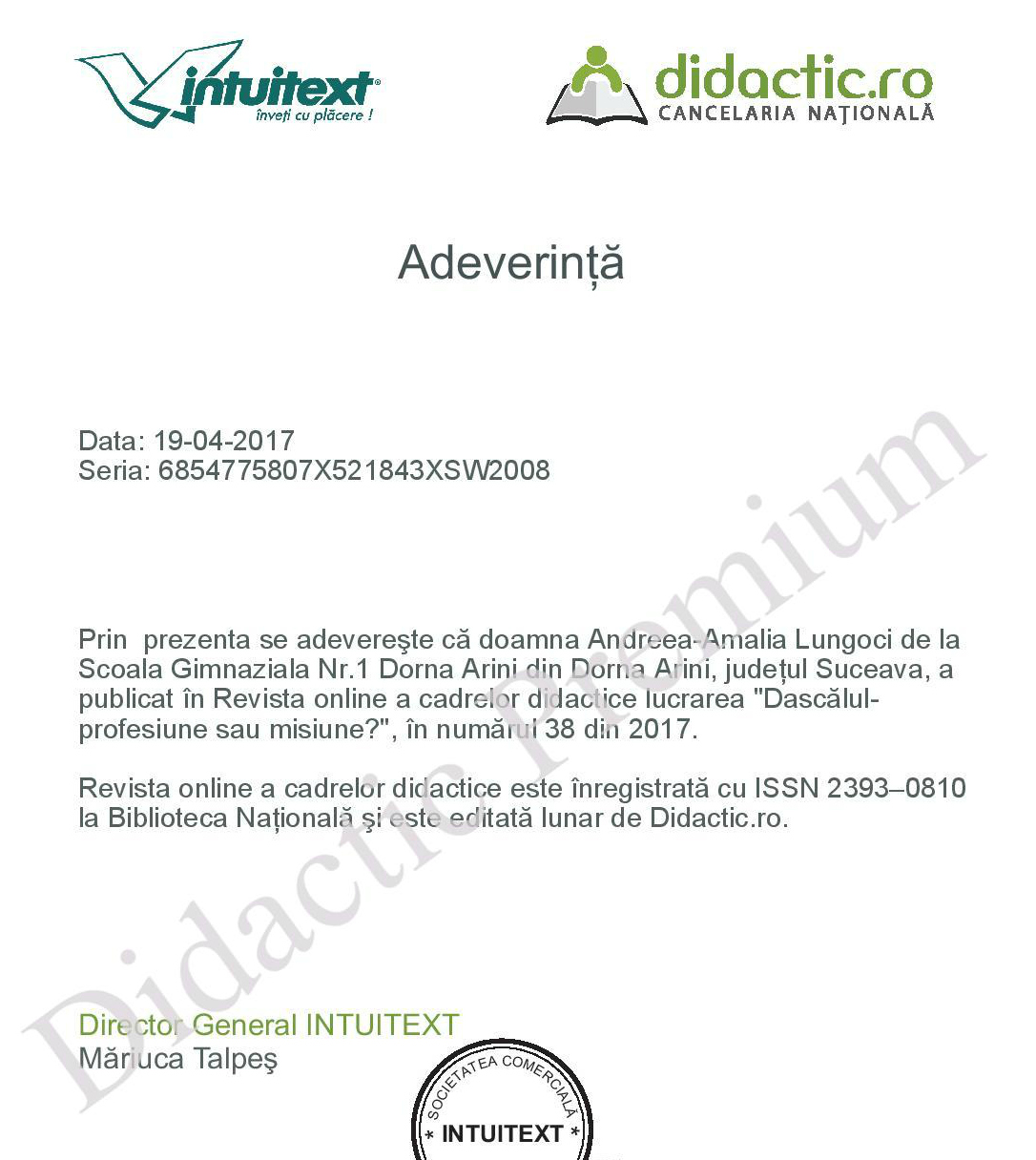 Adeverinta Revista cadrelor didactice
