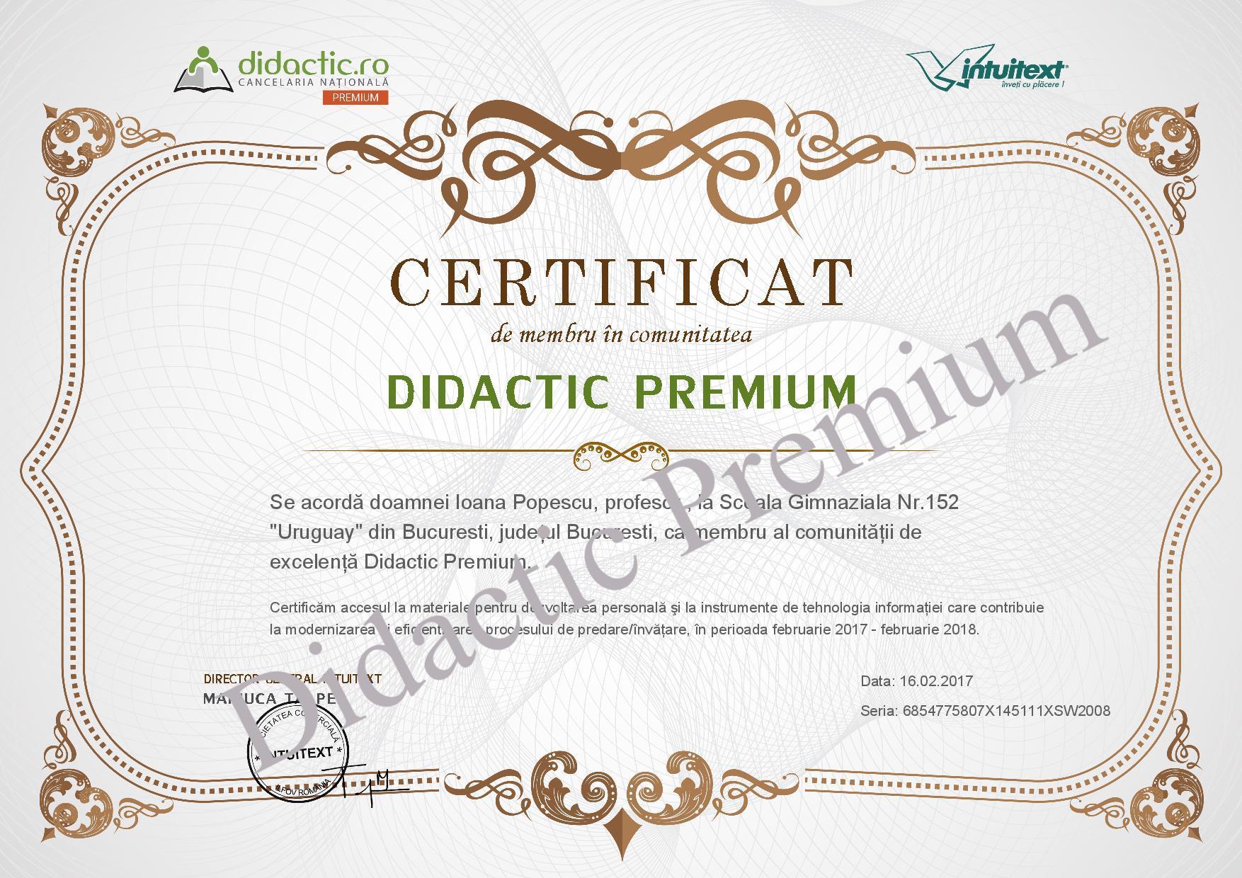 Certificat Didactic Premium
