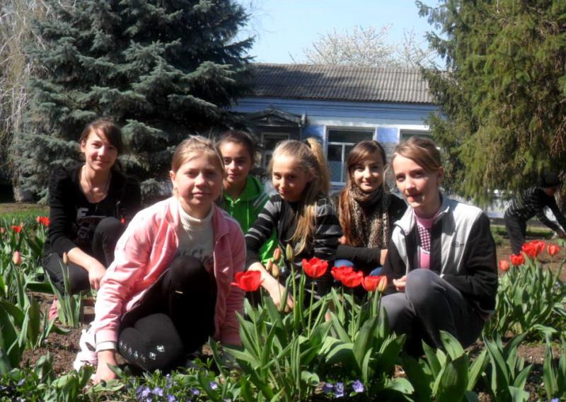 elevii amenajează clombe cu flori în curstea şcolii