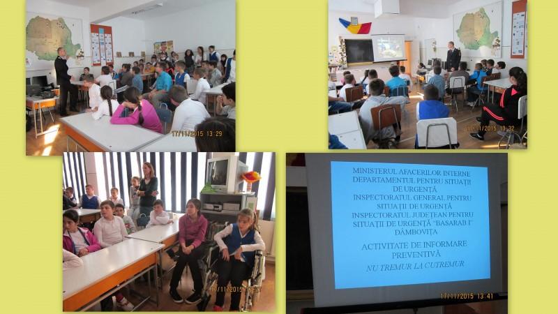 Activitate de informare a elevilor cu privire la siguranța in caz de cutremur realizată în colaborare cu Inspectoratul pentru Situații de Urgență