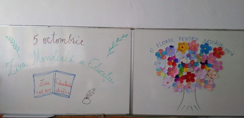 """Elevii clasei a V-a A, coordonați de prof. diriginte Lixandru Ionela, au desfășurat trei activități diferite în cadrul proiectului """"Împreună pentru Educație"""": prezentare PPT cu informații despre școala și importanța ei în educația elevilor, """"O floare pentru dascălul meu"""", desene pe asfalt """"Școala ideală""""."""