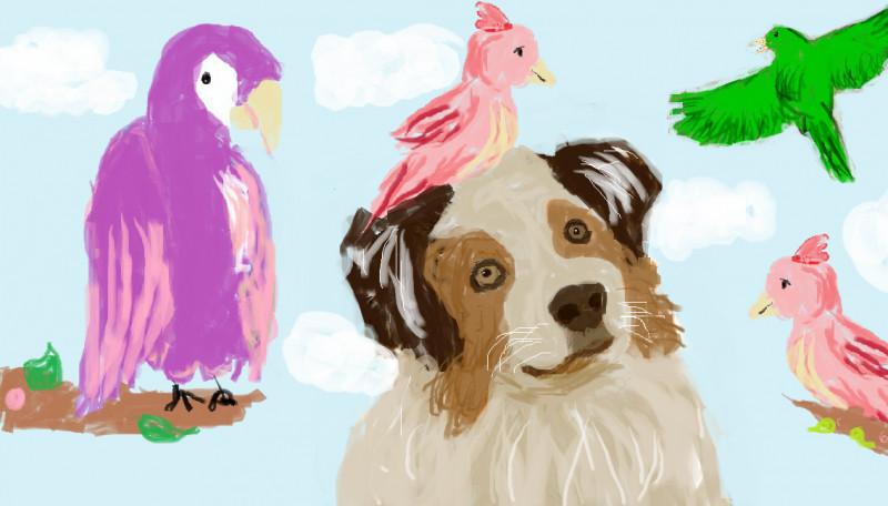 """Desen în Paint realizat de eleva Popescu Alexandra la Concursul """"Mirifica lume a păsărilor"""""""