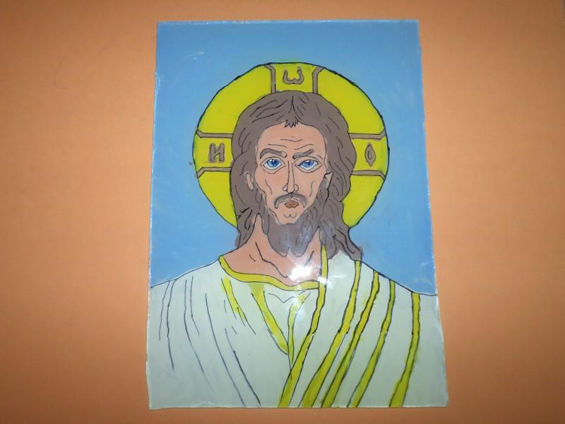 Icoană pictată pe sticlă - Isus Hristos