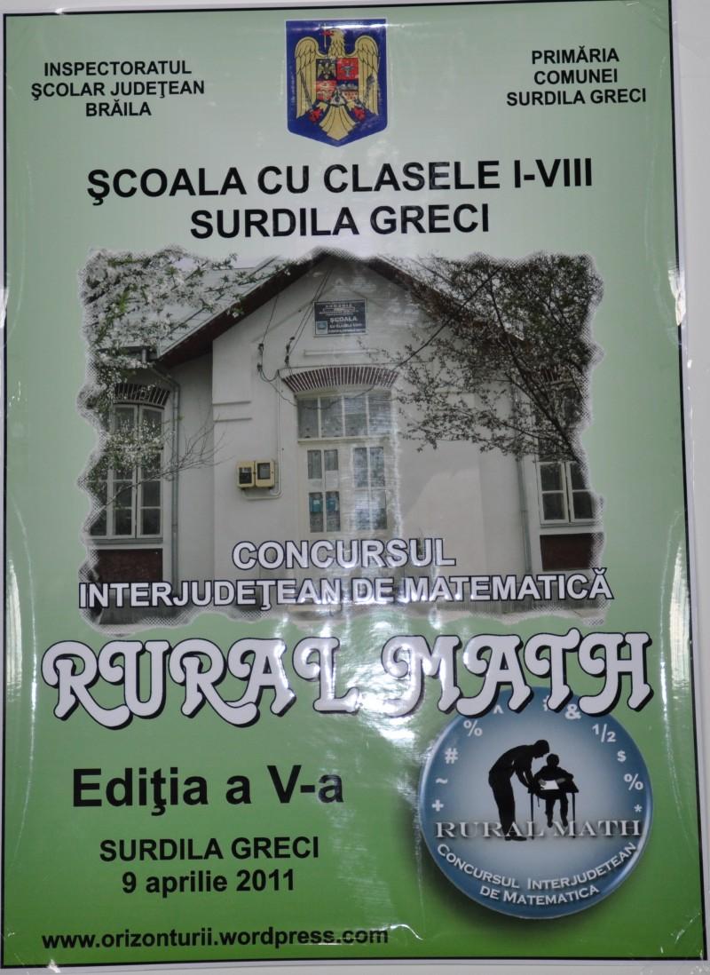 Pe 9 aprilie 2011 s-a desfăşurat cea de a cincea ediţie a Concursului Interjudeţean de Matematica Rural Math. Ca o familie, ne-am strâns cu mic cu mare la acest plăcut eveniment şi am ajuns la 192 elevi participanţi şi 25 cadre didactice.