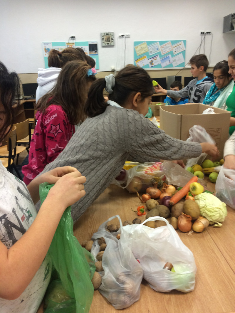 Elevii Scolii gimnaziale nr. 1 comuna Cuza Voda judetul Calarasi, au strans  legume si fructe specifice anotimpului toamna, in scopul donarii lor catre familii aflate in dificultate.