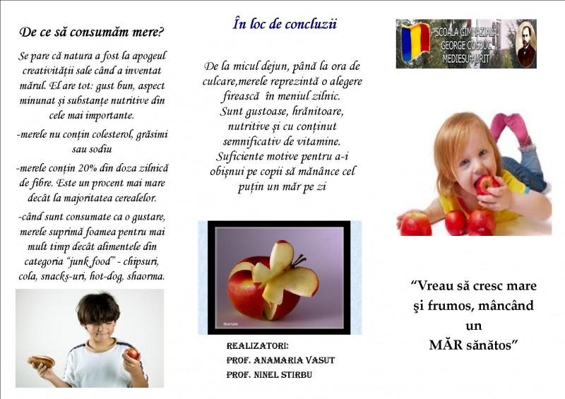"""""""Vreau să cresc mare şi frumos, mâncând un măr sănătos!"""