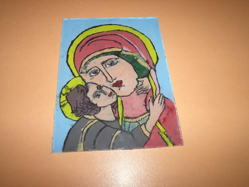 Icoană pictată pe sticlă - Maica Domnului cu Pruncul