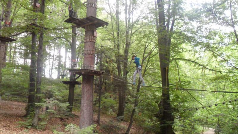 Parcurgerea unui traseu de dificultate medie in Parcul Aventura in Brasov.
